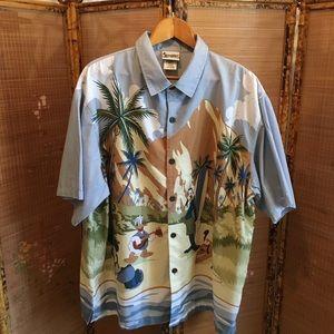 Disney Shirts - WDW surfing beach blue short sleeve Hawaiian shirt